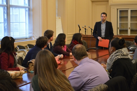 SIWP Alum Jon Monger greets Spring '14 student at the EPA, where he serves as Policy Advisor.