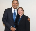 A SIWP student with then-Senator Obama when she interned in his office.