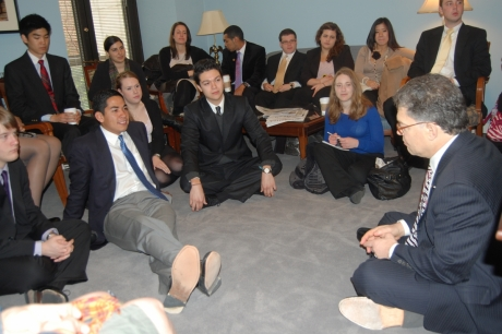 Semester in Washington Politics students with Senator Al Franken