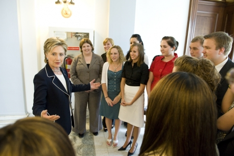 Semester in Washington Politics students with Hillary Clinton